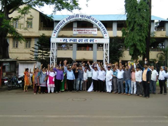 Reservation in the Panchayat Samiti on the compulsory leave of Satyarthi Group Education Officer   साताऱ्याचे गटशिक्षणाधिकारी सक्तीच्या रजेवर, पंचायत समितीत ठराव