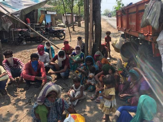 coronavirus: many laborers at the border of Parbhani district | coronavirus : पायपीट करून आलेल्या मजुरांचे परभणी जिल्ह्याच्या सीमेवर लोंढे