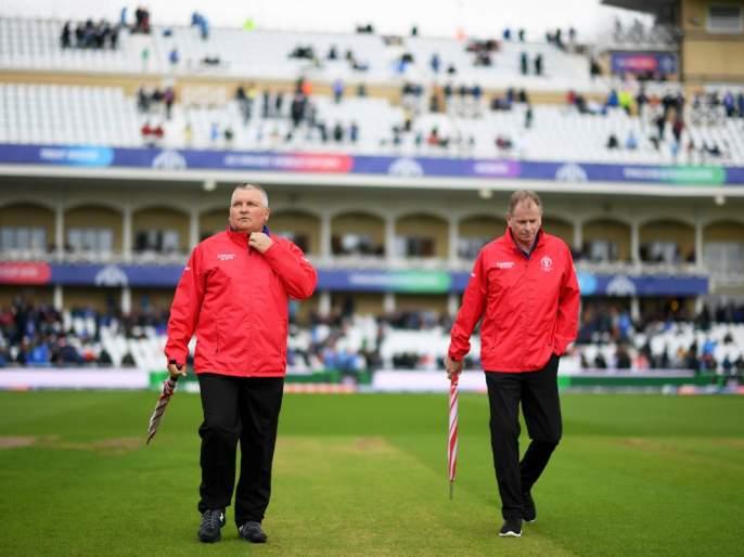 ICC World Cup 2019: After stopping the rain, the umpires have saw the field, and ... | ICC World Cup 2019 : पाऊस थांबल्यावर पंचांनी केली मैदानाची पाहणी, अन्...