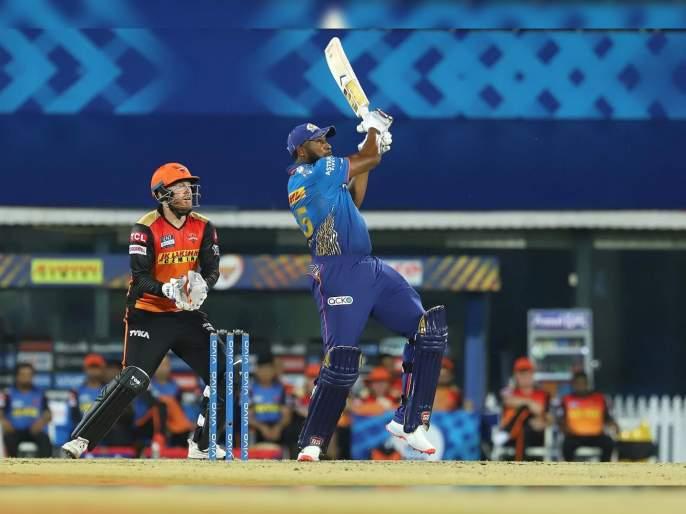 IPL 2021 MI vs SRH Live T20 Score : Kieron Pollard with a monstrous 105 metre 6, biggest six of IPL 2021, Video | IPL 2021, MI vs SRH T20 Live : किरॉन पोलार्डचा मॉन्स्टर SIX पाहिलात का?; आयपीएल २०२१मधील सर्वात उत्तुंग षटकार, Video