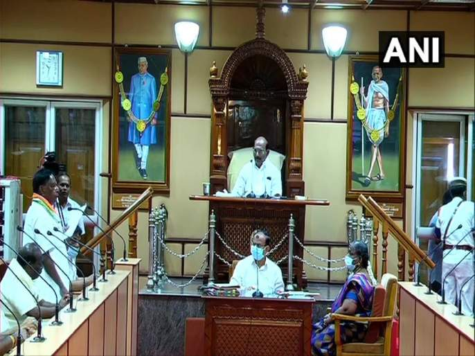 Puducherry floor test live updates Narayanasamy government fails to prove majority | Puducherry Floor Test: काँग्रेसला मोठा झटका, बहुमत सिद्ध करता न आल्यानं पुडुचेरीत सरकार कोसळलं