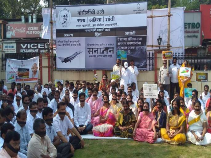 mahatma gandhi 150th birth anniversary NCP agitation against BJP government in pune | पुण्यामध्ये भाजपा सरकारविरोधात राष्ट्रवादी काँग्रेसचे 'मूक आंदोलन'