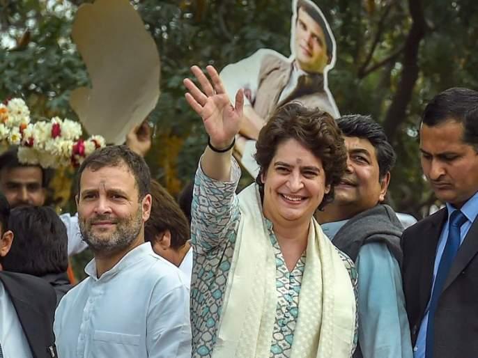 priyanka gandhi rahul gandhi show rafale deal during road show in lucknow | ...अन् प्रियंका गांधींच्या रोड शोमध्ये दिसलं राफेल विमान