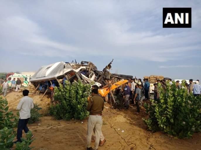 10 people killed, 20-25 injured in collision between a bus and truck in Bikaner   राजस्थानमध्ये भीषण अपघात; 10 जणांचा मृत्यू, 25 जण जखमी