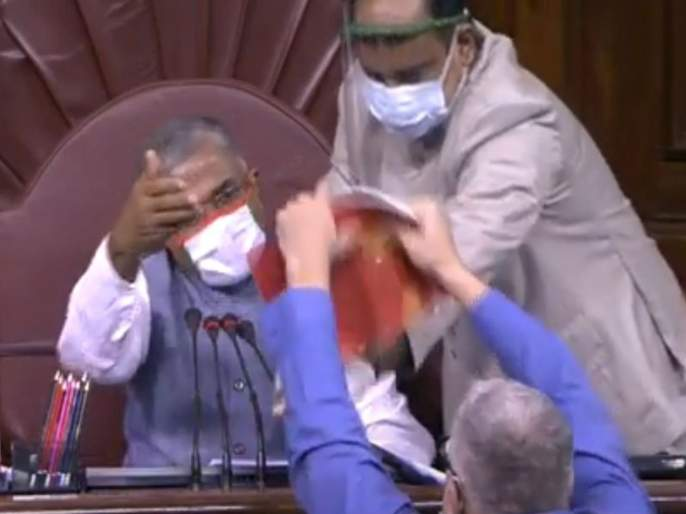 agriculture bills passed in rajya sabha amid opposition protest | माईकची मोडतोड, प्रचंड घोषणाबाजी; राज्यसभेत कृषी विधेयकं संमत होताना मोठा गोंधळ