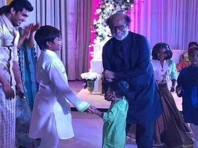 Rajinikanth takes a plump dance drama on the girl's pre-wedding party, see Video | रजनीकांतने मुलगी सौंदर्याच्या प्री-वेडिंग पार्टीत केला धमाकेदार डान्स, पाहा Video