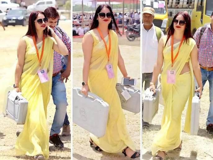 Yellow sari fame poll official Reena Dwivedi once again viral on internet this time in pink | लिंबू कलरची साडीवाली 'ती' पोलिंग अधिकारी पुन्हा चर्चेत
