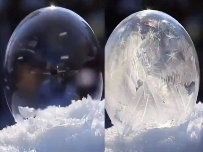 Viral video : This is how bubble freezing in snow, see the rare footage | VIDEO : बघा पाण्याचा बुडबुडा गोठून बर्फ कसा होतो, कधी पाहिला नसेल असा नजारा!