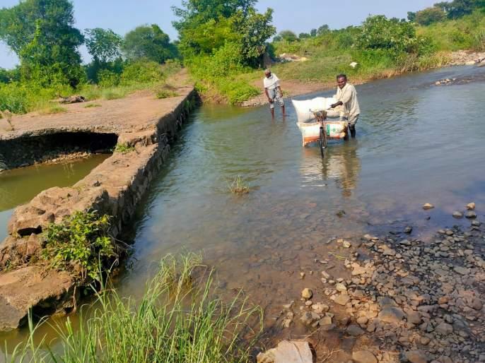 The bridge was swept away; Transport of agricultural produce through water | पूलवाहून गेला; नाल्याच्या पाण्यातूनशेतमालाची वाहतूक
