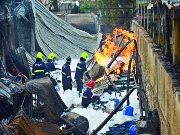 Fire to the chemical company in the location | तळोजात रासायनिक कंपनीला आग