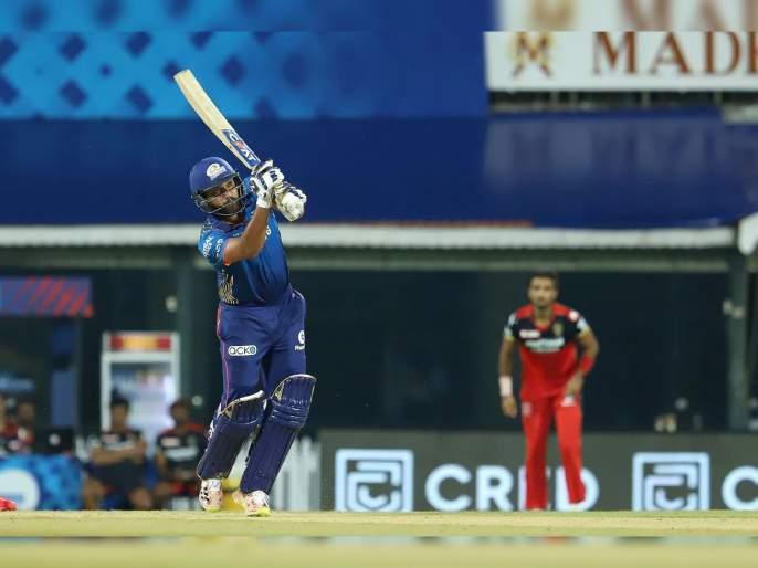IPL 2021 Mi vs RCB Live T20 Score : Rohit Sharma score first run for MI in four IPL season   IPL 2021 : MI vs RCB T20 Live : रोहित शर्माचा सलामी धावेचा चौकार; नोंदवला वेगळा विक्रम
