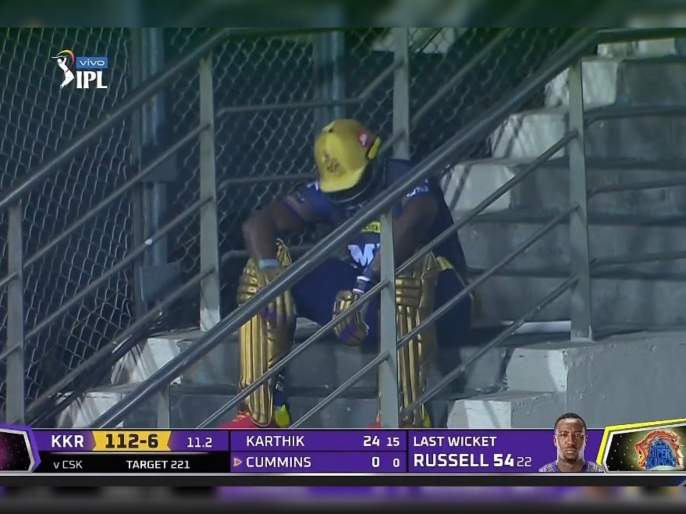 IPL 2021, CSK vs KKR T20 : Andre Russell in disbelief after getting bowled from an outstanding delivery, he score 54 runs on 22ball with 3x4 6x6, Video   IPL 2021, CSK vs KKR T20 : वानखेडेवर आंद्रे रसेलचं वादळ घोंगावलं, ९ चेंडूंत चोपल्या ४८ धावा; पण, विचित्र पद्धतीनं झाला बाद, Video
