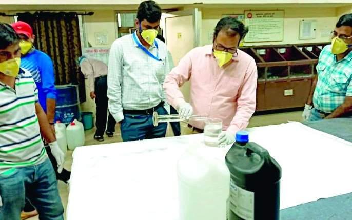 CoronaVirus in Nagpur: 1150 liter sanitizer prepared at Ajani | CoronaVirus in Nagpur : अजनीत तयार झाले १,१५० लिटर सॅनिटायझर