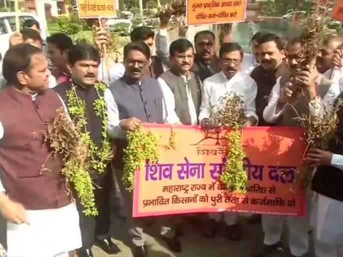 Shiv Sena leaders hold protest in Parliament premises on farmer issue | अतिवृष्टीग्रस्त शेतकऱ्यांच्या प्रश्नावरून शिवसेना आक्रमक, खासदारांचे संसदेच्या परिसरात आंदोलन