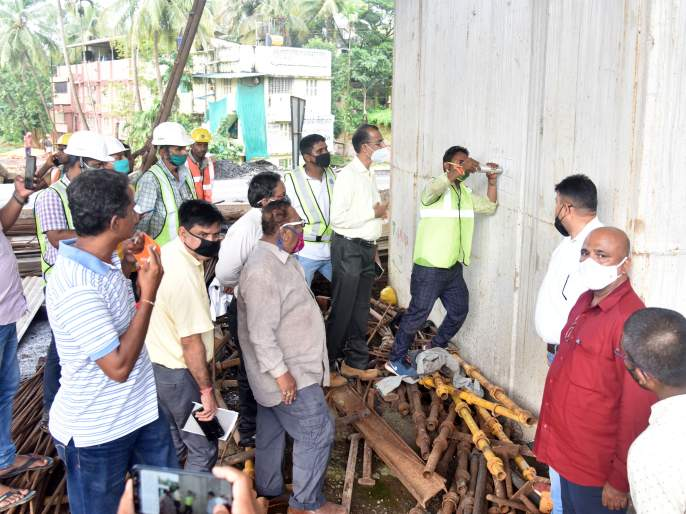 Quality inspection of flyover by executive engineers at Kankavali | कणकवलीत कार्यकारी अभियंत्यांकडून उड्डाणपुलाच्या दर्जाची पाहणी