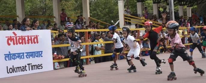 Everyone surprised at the speed of skaters | स्केटर्सच्या वेगाने केले सर्वांना अचंबित
