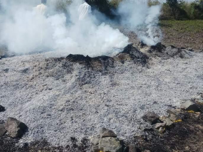 Soak of the beans catch fire at Bhokarkhed | भोकरखेड येथे आगीत सोयाबिनची सुडी जळून खाक
