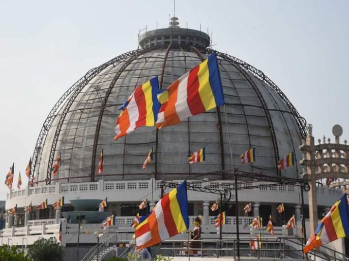 Panchsheel flag hoisting at Deekshabhoomi, salute of Samata Sainik Dal | दीक्षाभूमीवर पंचशील ध्वजारोहण, समता सैनिक दलाची मानवंदना