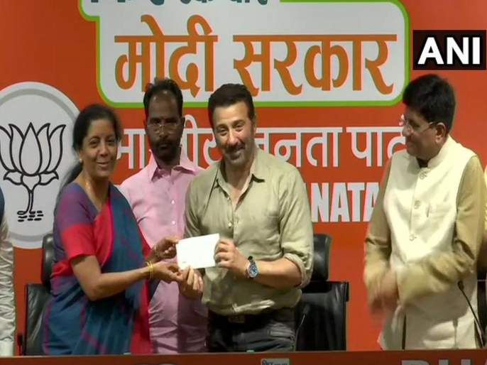 Actor Sunny Deol joins Bharatiya Janata Party in presence of Union Ministers Piyush Goyal and Nirmala Sitharaman   ढाई किलो का हाथ, भाजपा के साथ; सनी देओल पंजाबमधून निवडणूक लढणार?