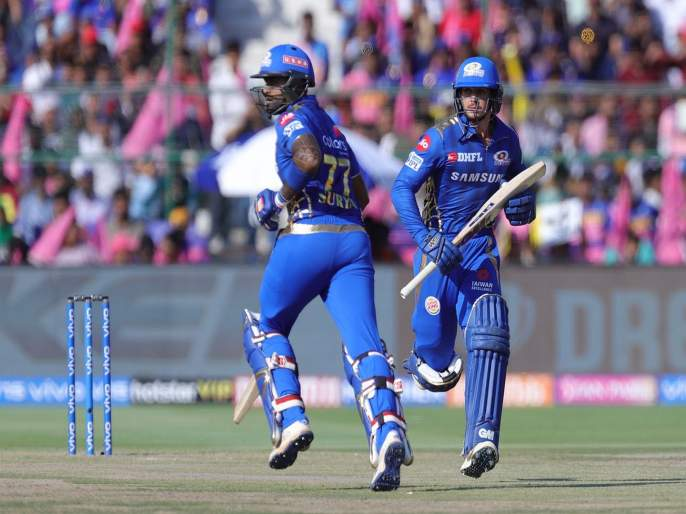 IPL 2019 RR vs MI: Quinny De Kock and suryakumar added 97 valuable runs in just 68 balls for the second wicket | IPL 2019 RR vs MI: डी'कॉक-यादवची भागीदारी रायुडू-धोनीवरही पडली भारी