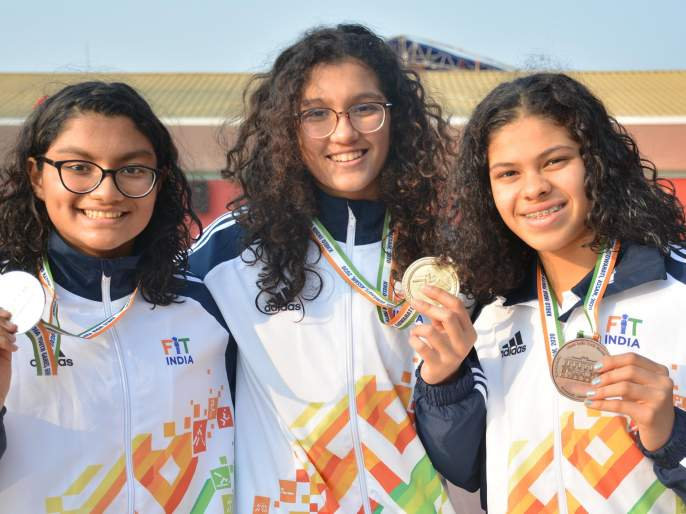 Khelo India: Kareena's gold medal record in swimming | खेलो इंडिया : जलतरणात करिनाच्या सुवर्णपदकास विक्रमाची झालर