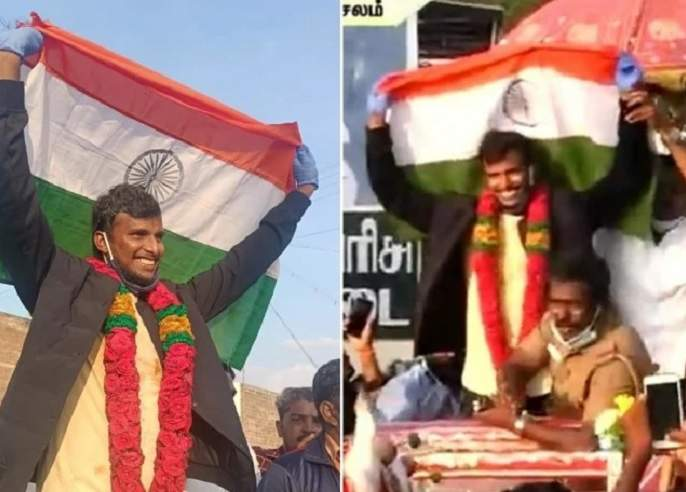 Indian Pacer T Natarajan Returned To The Country, Received A Warm Welcome On Chariot In The Village, Waved The Tricolor | टी नटराजनचे शाही स्वागत; वीरू म्हणतो, 'स्वागत नहीं करोगे?'