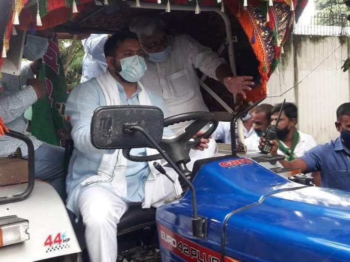 Bharat Bandh: Tejaswi Yadav's tractor rally; Said, 'Govt has made our 'anndaata' a puppet through its 'fund daata''   Bharat Bandh: तेजस्वी यादवांची ट्रॅक्टर रॅली; म्हणाले, 'सरकारने आमच्या अन्नदात्याला कठपुतळी बनवले'