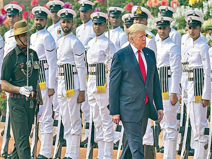 Donald Trump accorded ceremonial welcome guard of honour at Rashtrapati Bhavan kkg | ट्रम्प यांचे राष्ट्रपती भवनात शाही स्वागत;२१ तोफांची दिली सलामी