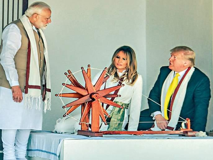 Donald Trump Visit: Trump's visit to Sabarmati Ashram; But forget about Gandhiji   Donald Trump Visit: साबरमती आश्रमालाट्रम्प यांची धावती भेट; पण गांधीजींचा विसर