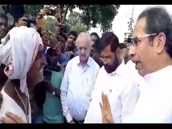 Farmers' tears erupted in front of Uddhav Thackeray while explain crop damage status | उद्धव ठाकरेंसमोर शेतकऱ्यांच्या अश्रूंचा बांध फुटला