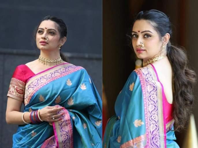 Shruti marathe looks beautiful in sarees, photo viral on internet | साडीत दिसल्या श्रुती मराठेच्या मोहक अदा, फोटो पाहून सारेच झाले तिच्यावर फिदा !