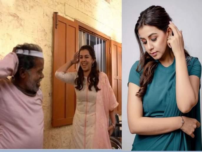 south indian actress nikki galrani dances with school watchman | शाळेच्या वॉचमन काकांसोबत अभिनेत्रीने केला धम्माल डान्स, इंटरनेटवर धुमाकूळ घालतोय हा व्हिडीओ