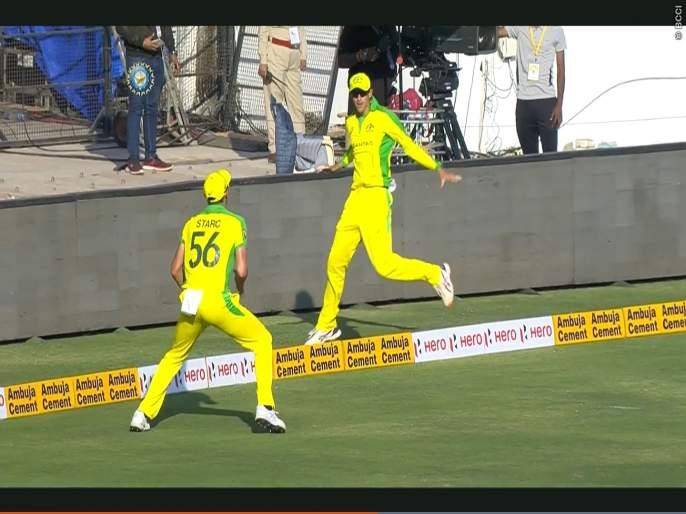 India vs Australia, 2nd ODI : Two players take Virat Kohli's super duper catch, Watch Video | India vs Australia, 2nd ODI : दोघांनी टिपला विराटचा सुरेख झेल, पाहा नेमकं काय घडलं Video