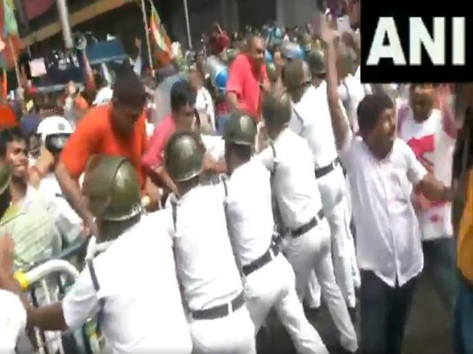 Kolkata: BJP youth wing protests against hike in electric charges, clashes with police | वीज दरवाढ विरोधात भाजपाचे ममता सरकारविरोधात आंदोलन