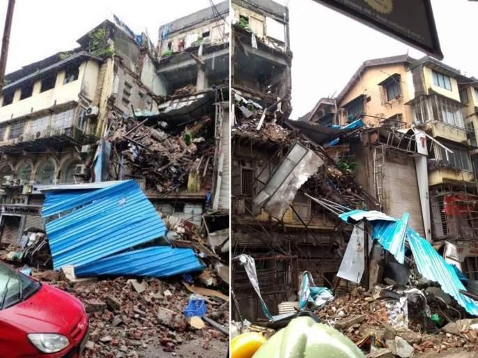 4 storey Ahmed building collapsed in the Crawford Market area   क्रॉफर्ड मार्केट परिसरातील ४ मजली अहमद इमारत कोसळली