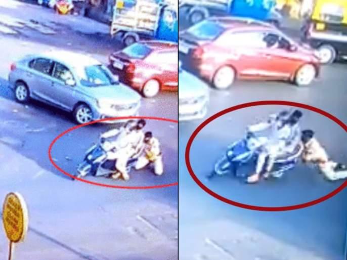 Shocking! Two-wheeler driver rushed to police officer during curfew and nakabandi pda   धक्कादायक! नाकाबंदीच्या वेळी तैनातपोलीस अधिकाऱ्याला दुचाकीस्वारानेनेले फरफटत