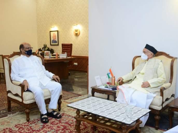 NCP Chief Sharad Pawar meets Governor Bhagat singh koshyari BKP | शरद पवार यांनी घेतली राज्यपालांची भेट, राजकीय तर्कवितर्कांना उत
