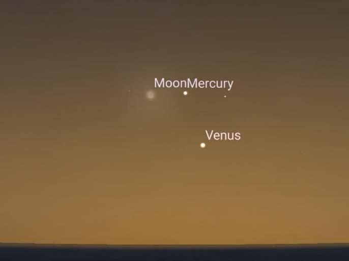 Mercury, Venus, And The Moon All Unite In This Week's Skies SSS | खगोलप्रेमींनी पाहिली शुक्र, बुध आणि चंद्राची युती
