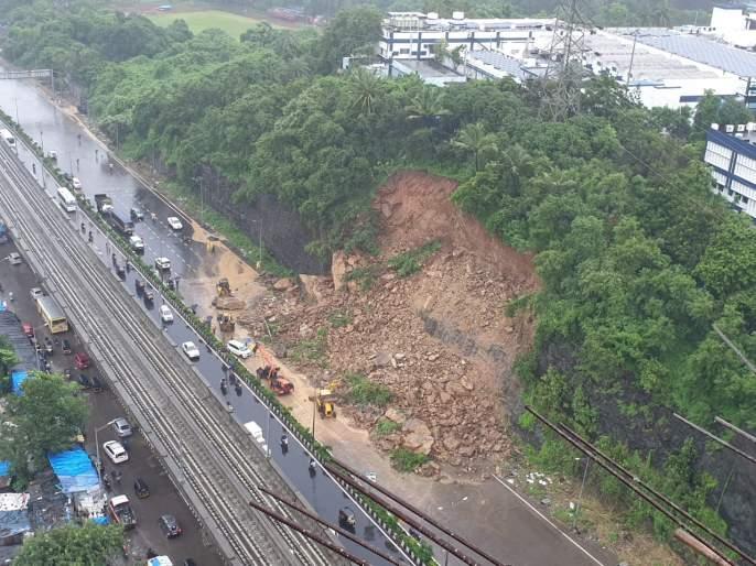 In Mumbai, the fog of rain, pain on the Western Expressway collapsed, traffic collapsed | Mumbai Rain Update : मुंबईत पावसाचे धूमशान, पश्चिम द्रुतगती मार्गावर दरड कोसळली, वाहतूक कोलमडली