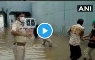 Gujarat ambulance that was stuck under waterlogged bridge near Rajkot's Gondal | Video - पावसाचे थैमान! ....अन् साचलेल्या पाण्यात अडकली रुग्णवाहिका