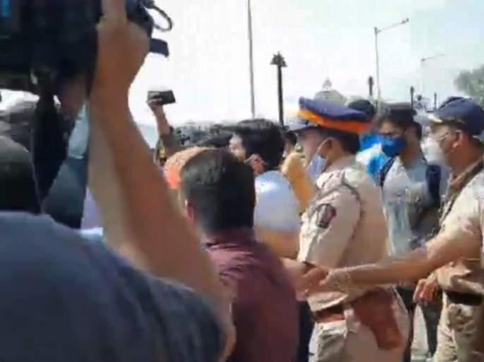 News channel reporters clashed in front of the NCB office, with timely police intervention | एनसीबी कार्यालयासमोर न्यूज चॅनल्सचे रिपोर्टर्स भिडले, पोलिसांचा वेळीच हस्तक्षेप