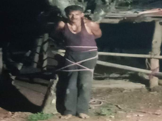 woman beaten and molested by drunken person in balaghat video goes viral | महिलेची छेड काढणं पडलं महागात; झाडाला बांधून गावकऱ्यांच्या मदतीने केली यथेच्छ धुलाई