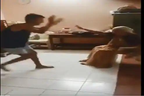 Trending video grandson playing garba with grandmother at home | Video : वाह, लय भारी! आजीला खुर्चीत बसवून हा पठ्ठ्या खेळतोय गरबा; पाहा व्हिडीओ