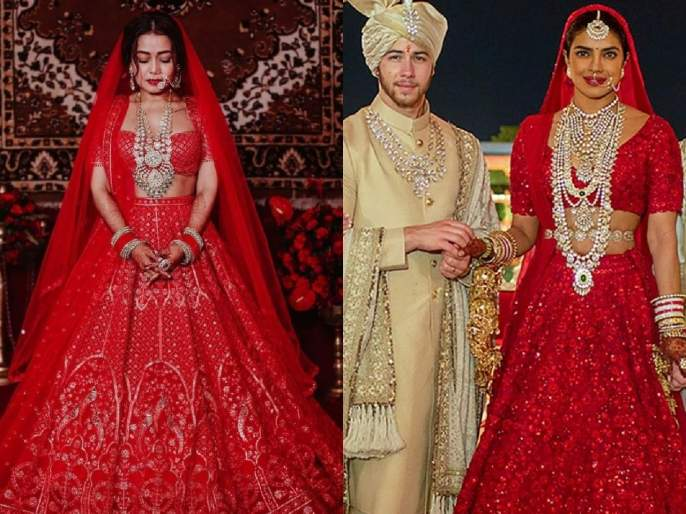 Neha kakkar rohanpreet singh copied priyanka chopra wedding outfits | नेहा कक्करच्या लेंहग्याची रंगली चर्चा, प्रियंका चोप्राचे ब्राइडल लूक केले कॉपी?