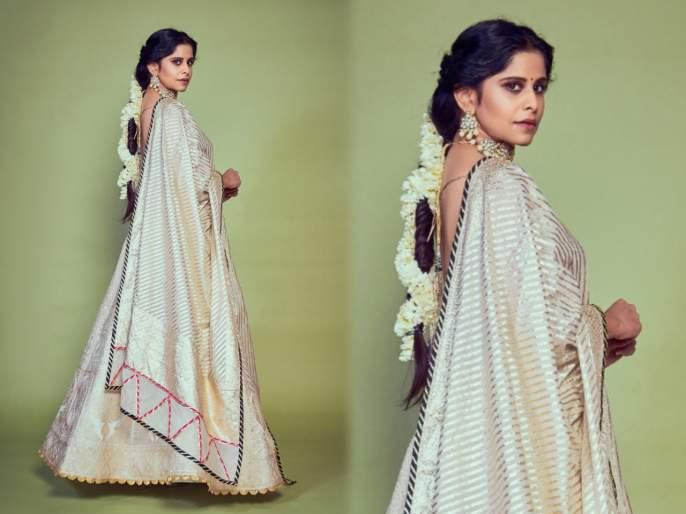 Sai tamhankar's looks beautiful in a golden dress   गोल्डन रंगाच्या ड्रेसमध्ये खुललं सई ताम्हणकरचं सौंदर्य, अदा पाहून चाहते झाले फिदा