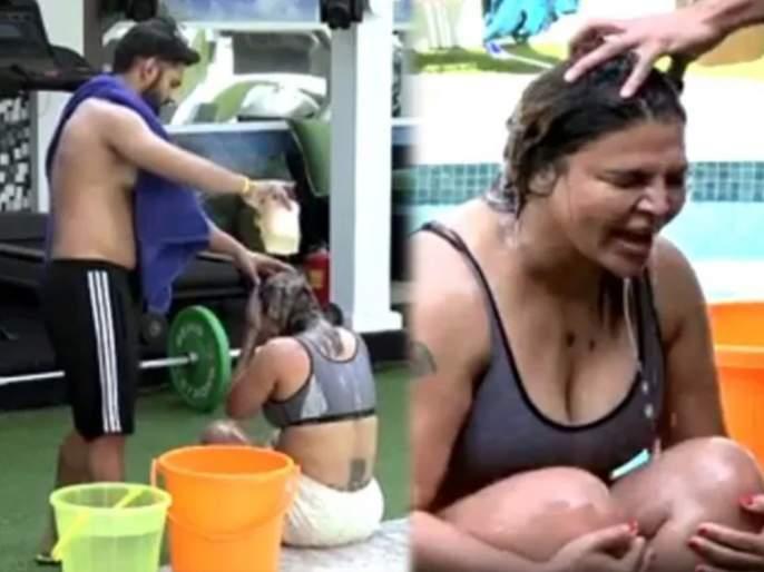Bigg Boss 14: Rakhi Sawant Takes Bath With The Help Of Rahul Vaidya Video Viral | पब्लिसिटी के लिए कुछ भी करेगा ! राहूल वैद्यने घातली राखी सावंतला आंघोळ, Video Viral
