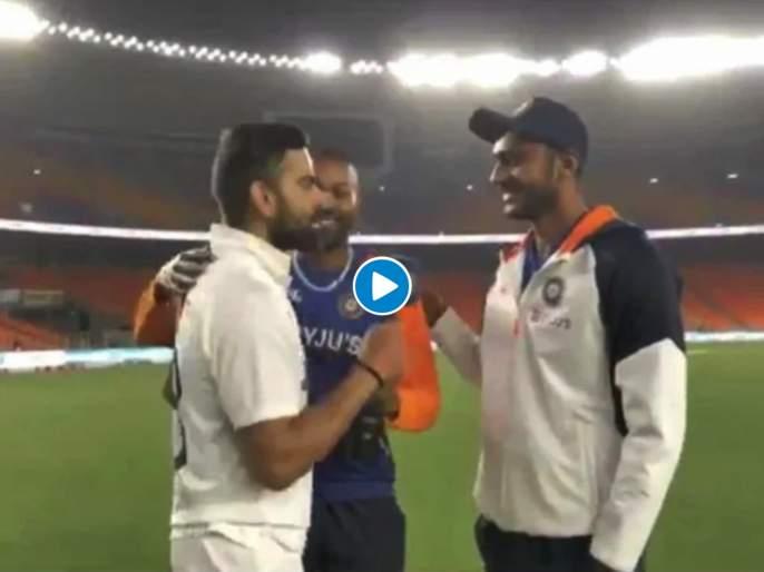 Ind vs Eng 3rd Test : Virat Kohli started speaking Gujarati at Narendra Modi Stadium; Appreciate Axar Patel, Video | ...अन् नरेंद्र मोदी स्टेडियमवर Virat Kohli गुजराती बोलू लागला; अक्षर पटेलचं केलं कौतुक