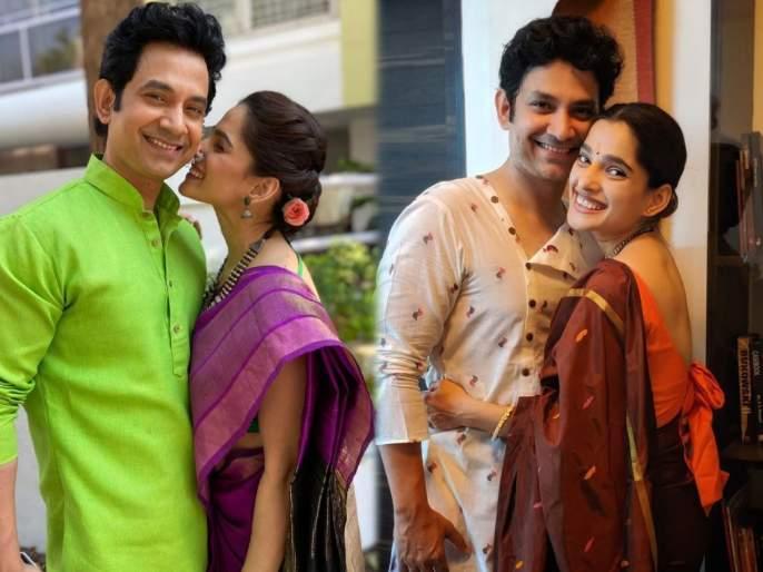 Umesh kamat share photo with priya bapat on internet | प्रिया बापटसोबतचा फोटो शेअर करत उमेश कामत म्हणाला- काय म्हणते आहे ही? Get ready for पाडवा की