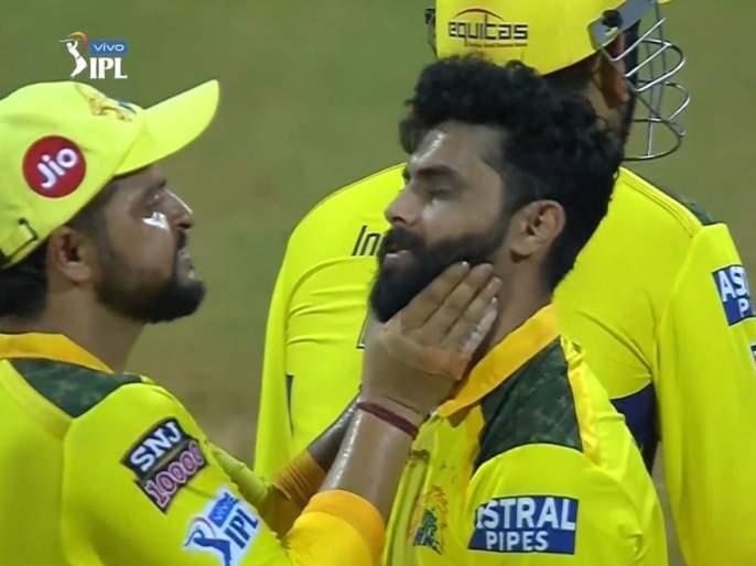 Fact Check: Suresh Raina grabs Ravindra Jadeja's neck in IPL 2021 live match; watch Video | Fact Check : IPL 2021 लाईव्ह मॅचमध्ये सुरेश रैनानं धरला रवींद्र जडेजाचा गळा; MS Dhoni झाला हैराण, Video