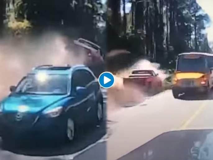Dangerous overtaking : Viral video usa florida dangerous overtaking maneuver sends pickup into ditch | Dangerous overtaking : भयंकर! हायवेवर ओव्हरटेक करण्याच्या नादात ट्रकला धडकला अन् मग..., पाहा थरारक व्हिडीओ